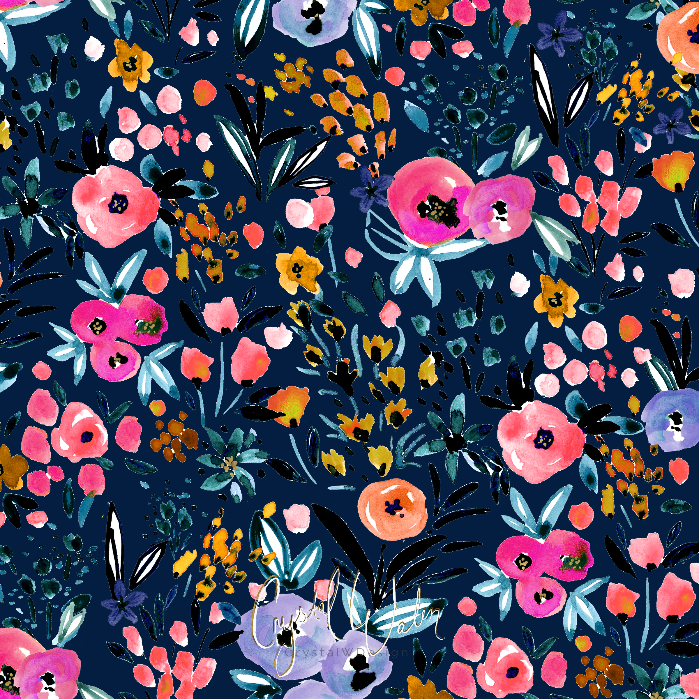 Anali Floral - Navy