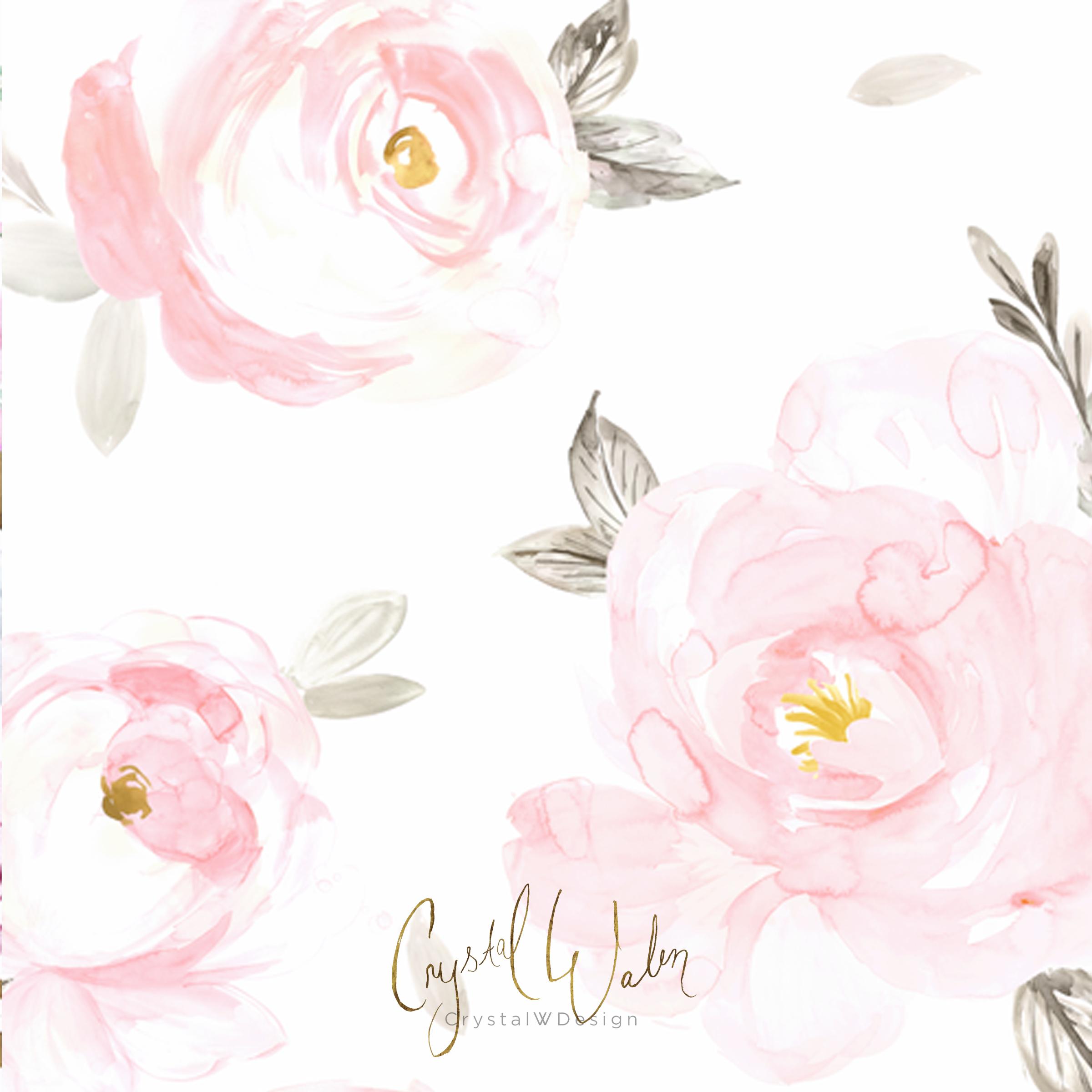 Blush Floral Gray