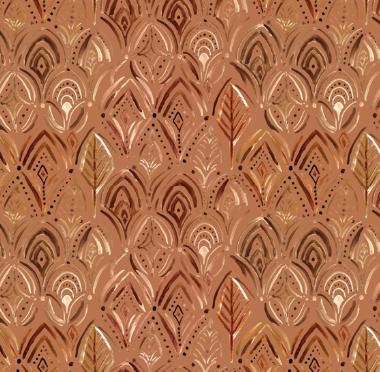 Boho medallion scallop - copper gold rust