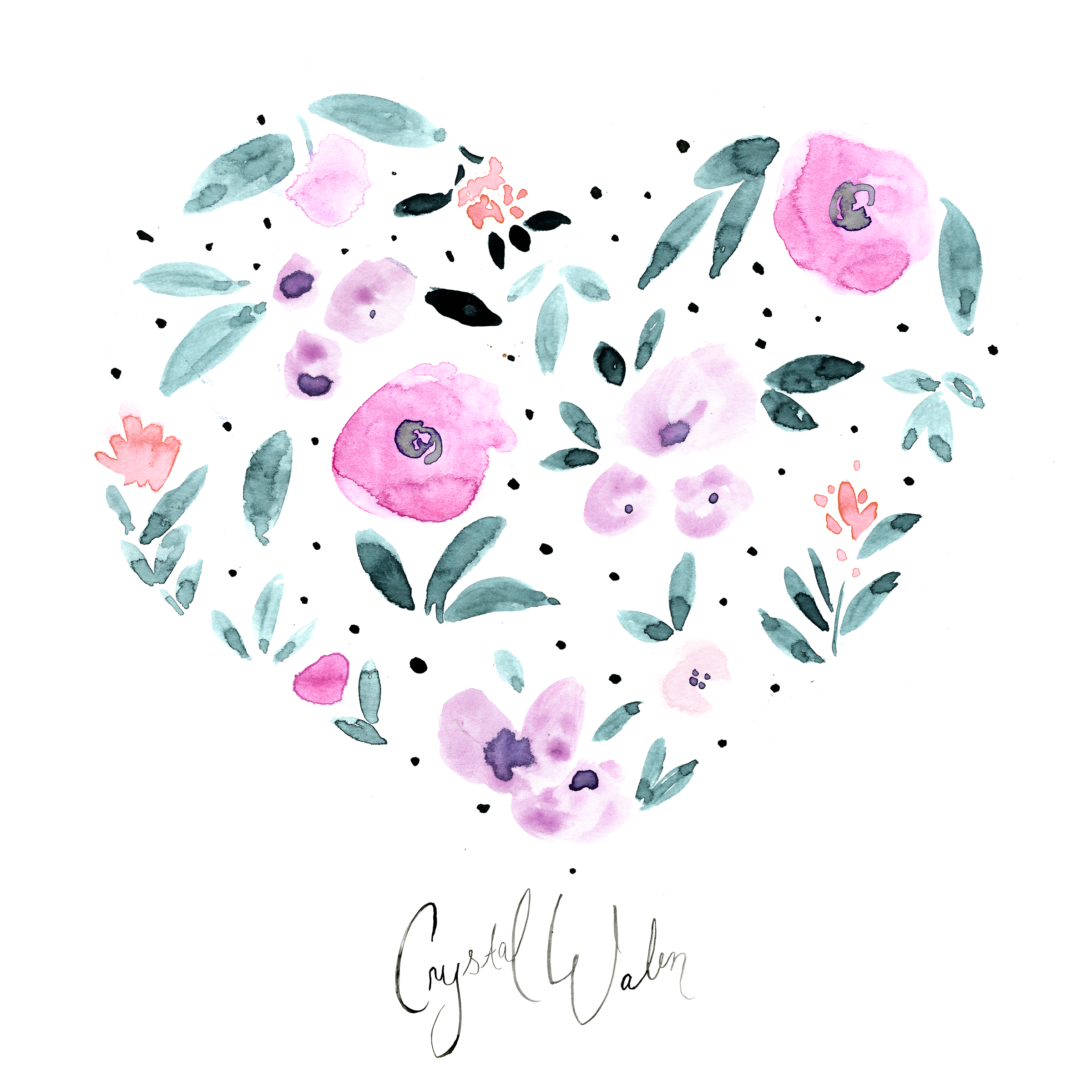 Heart Floral with dots