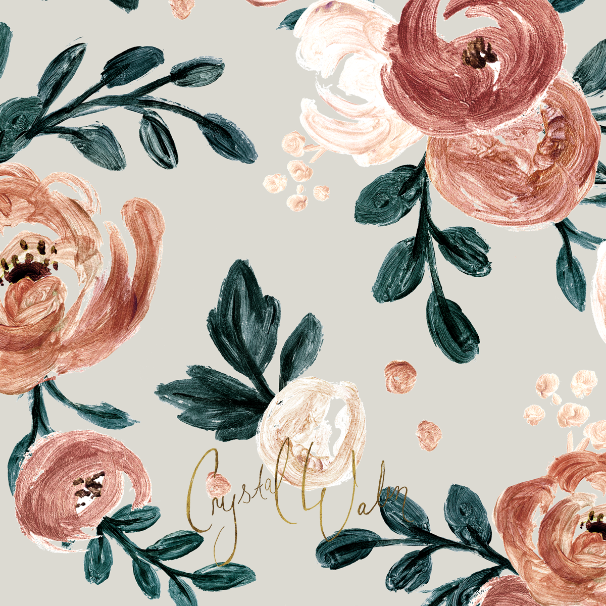 Honey rose in rose gold_ rust_ copper_ teal  cream on gray