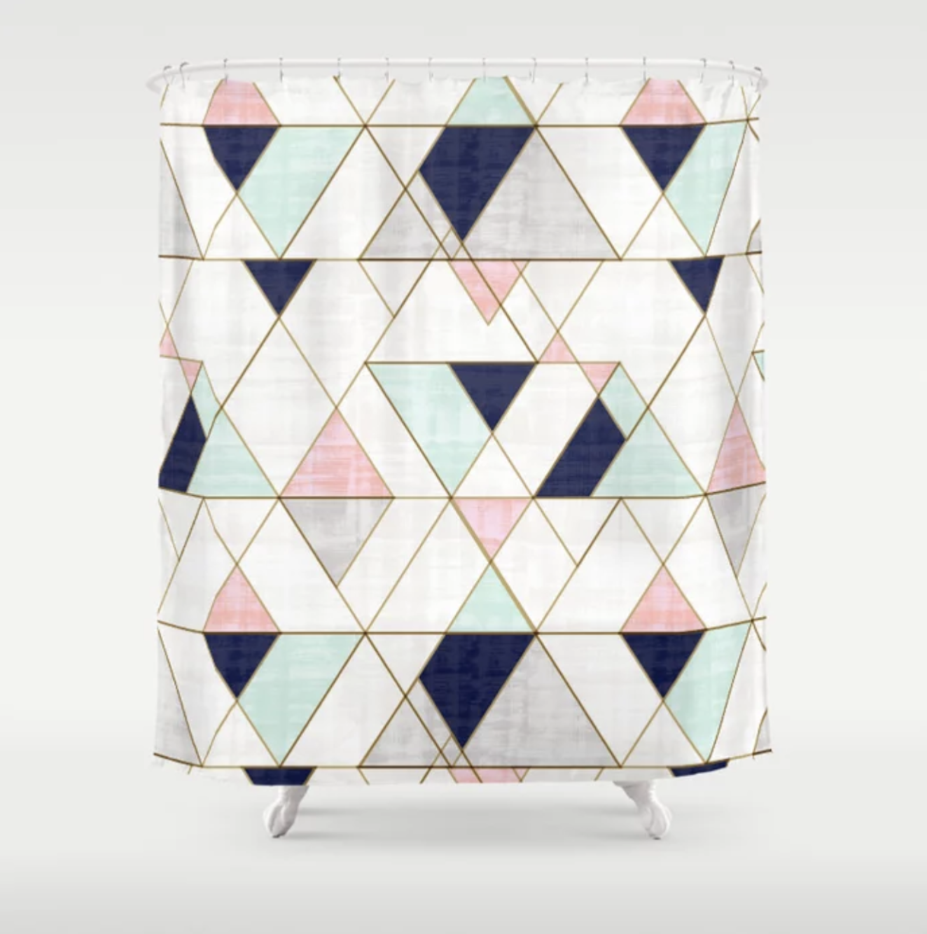 Mod Triangles - Navy Blush Mint - shower curtain