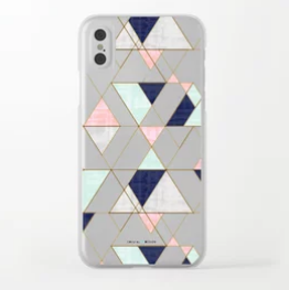 Mod Triangles Navy Mint Blush Phone Case