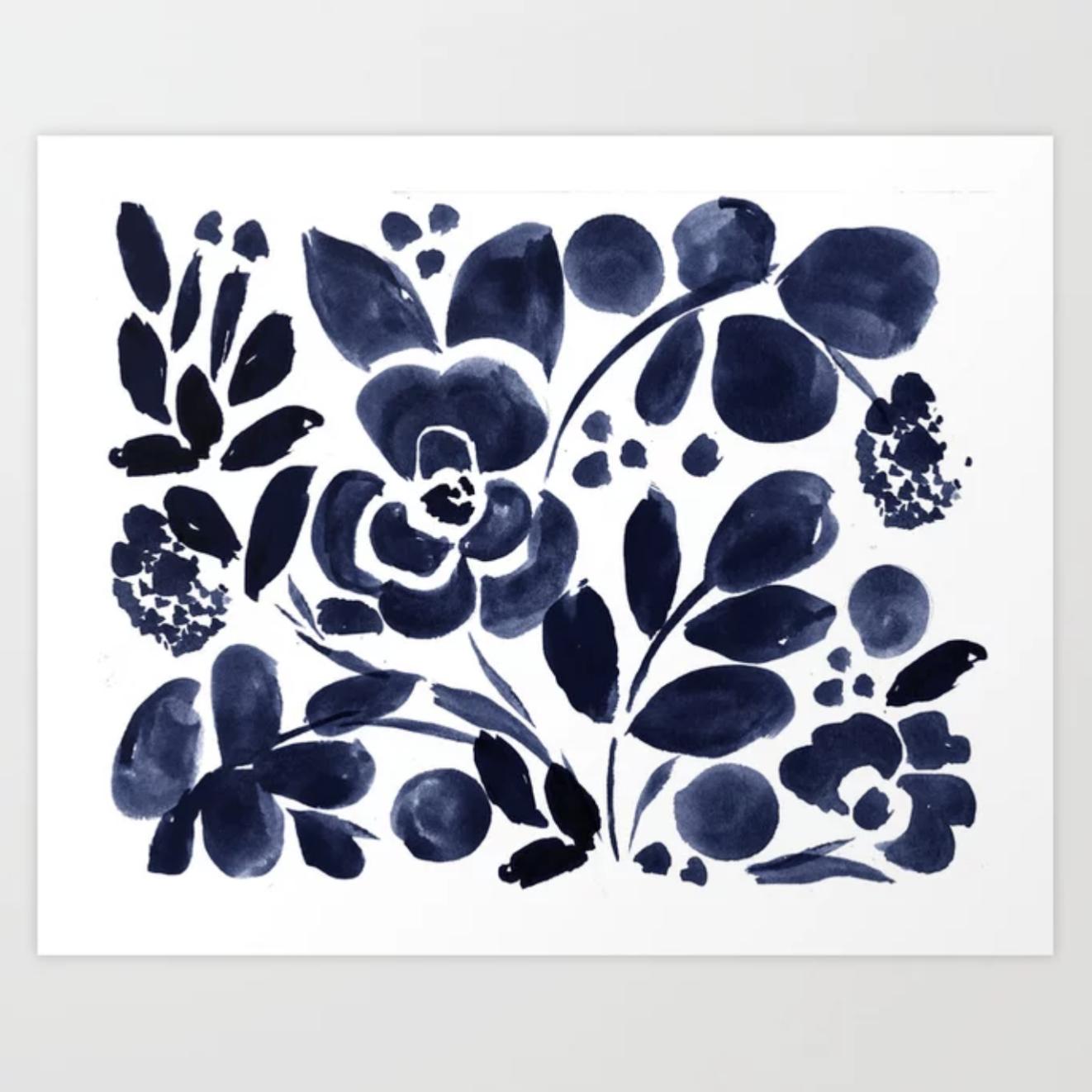 Navy Floral - Art Print