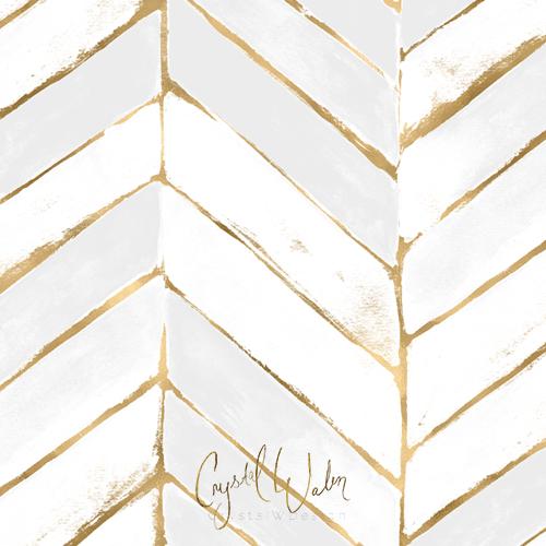 Painted Chevron - White + Gold