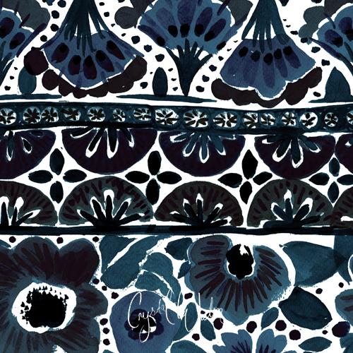 Painted Flowers Stripe Indigo