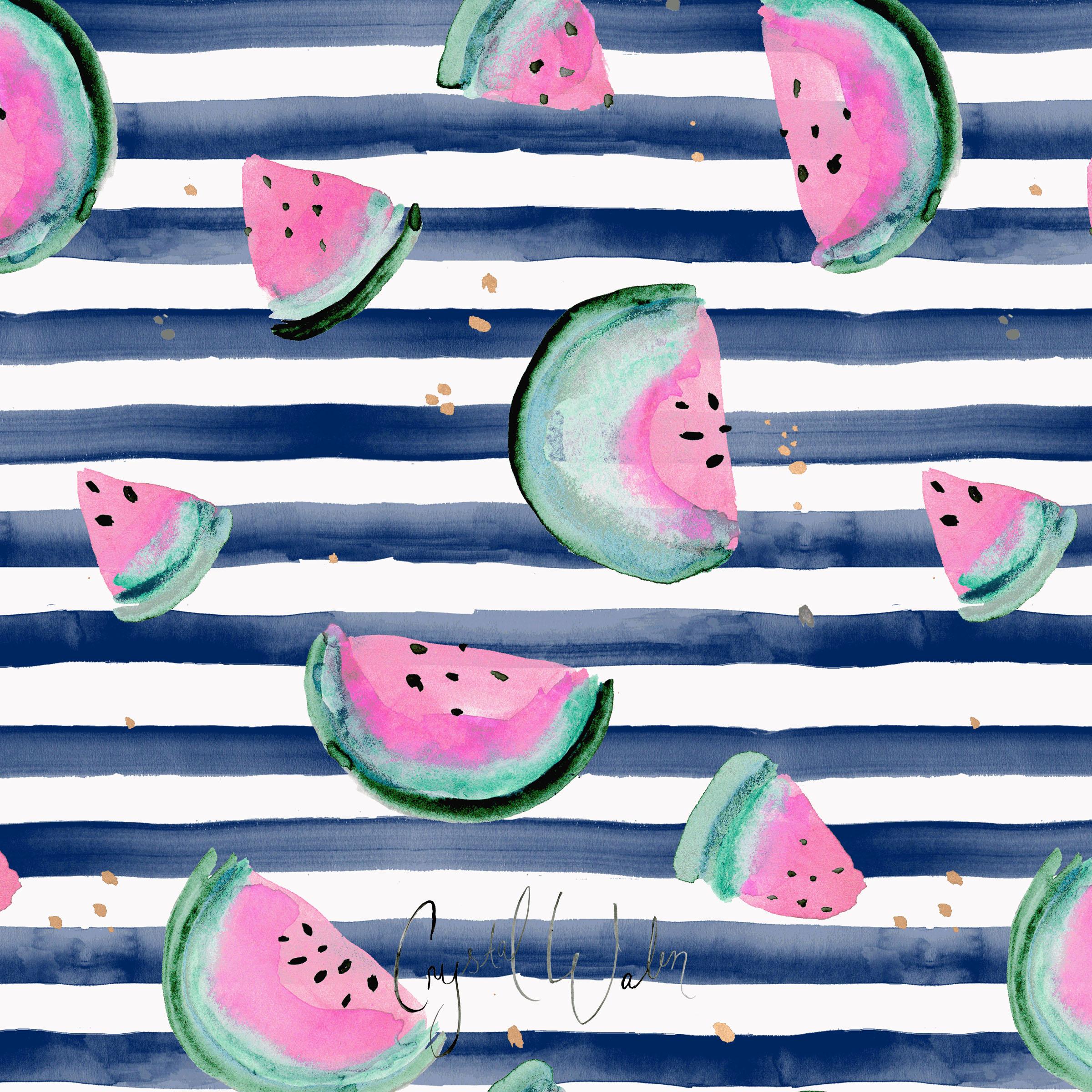 Pink Watermelon on Navy Stripe