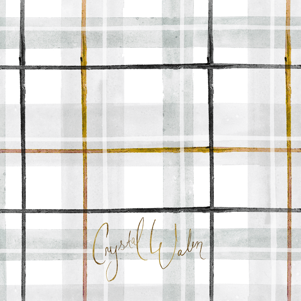 Tartan gray gold black and white