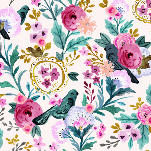 Vintage Birds + Blooms